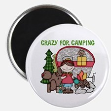 """Girl Crazy For Camping 2.25"""" Magnet (10 pack)"""