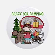 Girl Crazy For Camping Ornament (Round)