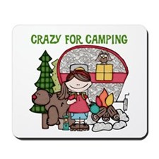 Girl Crazy For Camping Mousepad