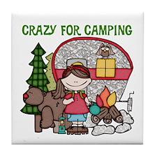 Girl Crazy For Camping Tile Coaster