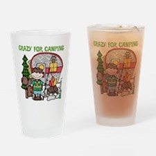 Boy Crazy For Camping Drinking Glass