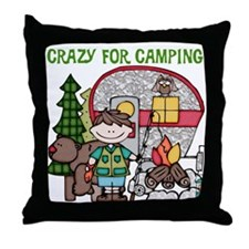 Boy Crazy For Camping Throw Pillow