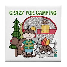 Boy Crazy For Camping Tile Coaster