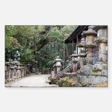 Stone Lanterns in the Woods Sticker (Rectangle)