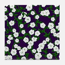 Moonflowers on deep Plum Tile Coaster