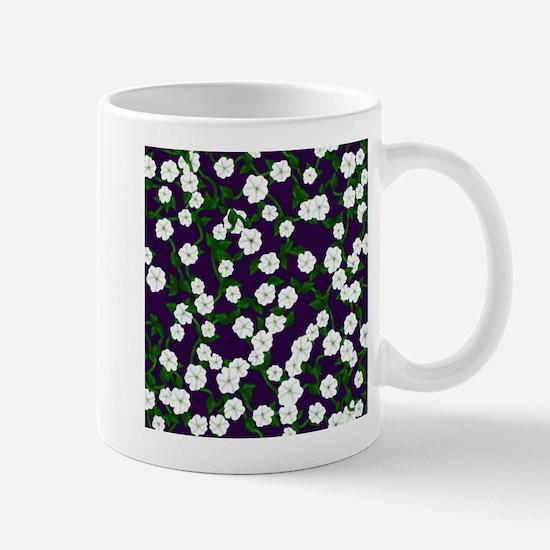 Moonflowers on deep Plum Mugs