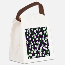Moonflowers on deep Plum Canvas Lunch Bag