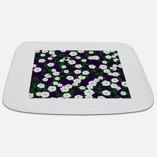 Moonflowers on deep Plum Bathmat