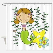Brown Mermaid Shower Curtain