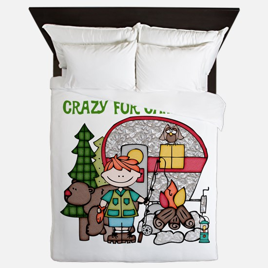 Boy Crazy For Camping Queen Duvet