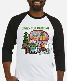 Boy Crazy For Camping Baseball Jersey