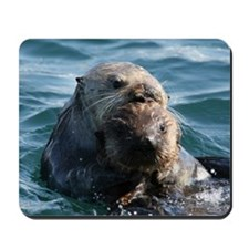 Sea Otters Swimming Mousepad