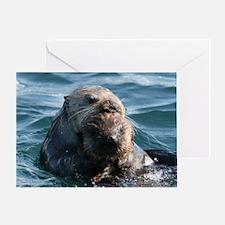Sea Otters Swimming Greeting Card