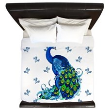Peacock With Swirl Borders King Duvet