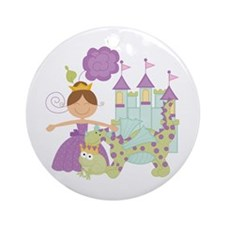 Brunette Princess Ornament (Round)