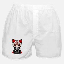 Cute Red Day of the Dead Kitten Cat Boxer Shorts