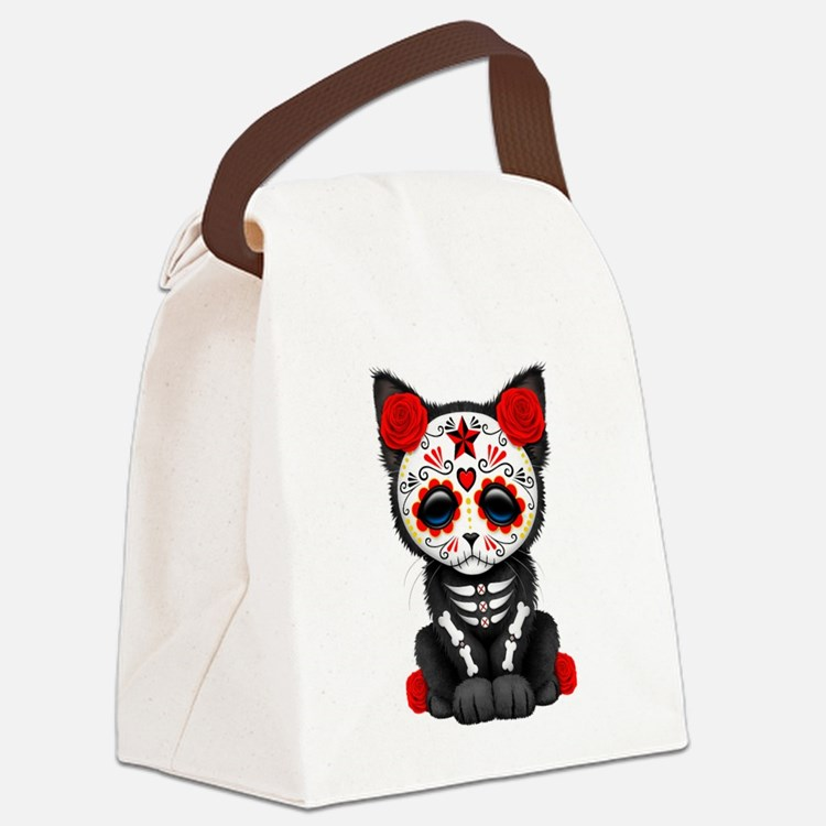 Cute Red Day of the Dead Kitten Cat Canvas Lunch B