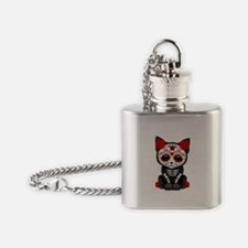 Cute Red Day of the Dead Kitten Cat Flask Necklace