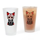Day of the dead cat Drinking Glass
