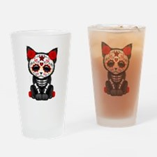 Cute Red Day of the Dead Kitten Cat Drinking Glass
