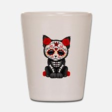 Cute Red Day of the Dead Kitten Cat Shot Glass