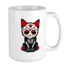 Cute Red Day of the Dead Kitten Cat Mugs