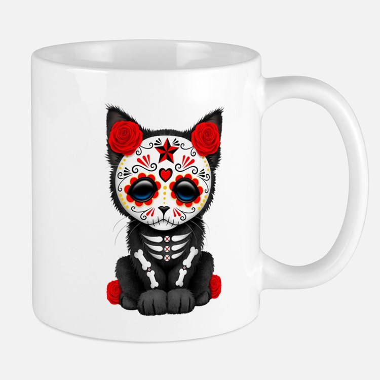 Cute Red Day of the Dead Kitten Cat Mugs