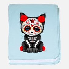 Cute Red Day of the Dead Kitten Cat baby blanket