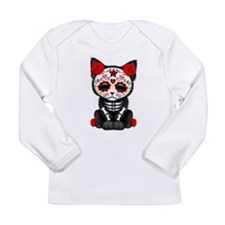 Cute Red Day of the Dead Kitten Cat Long Sleeve T-
