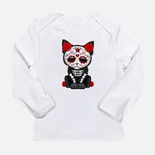 Cute Red Day of the Dead Kitten Cat Long Sleeve T-