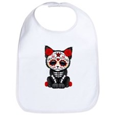 Cute Red Day of the Dead Kitten Cat Bib