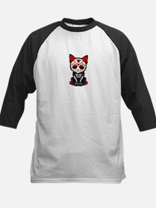Cute Red Day of the Dead Kitten Cat Baseball Jerse