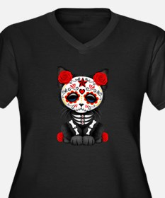 Cute Red Day of the Dead Kitten Cat Plus Size T-Sh