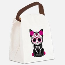 Cute Pink Day of the Dead Kitten Cat Canvas Lunch