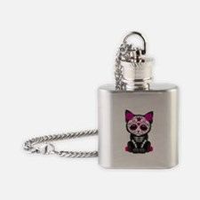 Cute Pink Day of the Dead Kitten Cat Flask Necklac
