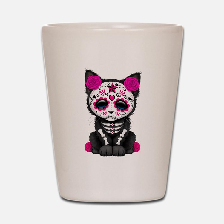Cute Pink Day of the Dead Kitten Cat Shot Glass