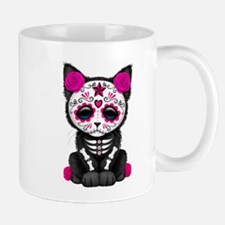 Cute Pink Day of the Dead Kitten Cat Mugs