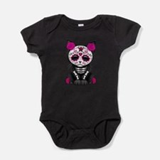 Cute Pink Day of the Dead Kitten Cat Baby Bodysuit
