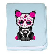 Cute Pink Day of the Dead Kitten Cat baby blanket