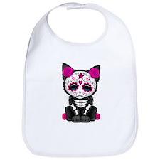 Cute Pink Day of the Dead Kitten Cat Bib