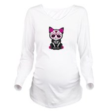 Cute Pink Day of the Dead Kitten Cat Long Sleeve M