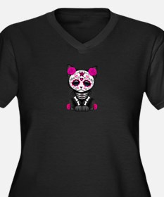 Cute Pink Day of the Dead Kitten Cat Plus Size T-S