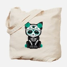Cute Teal Day of the Dead Kitten Cat Tote Bag