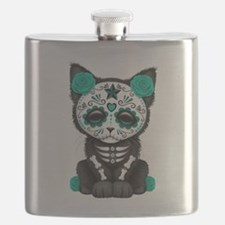 Cute Teal Day of the Dead Kitten Cat Flask