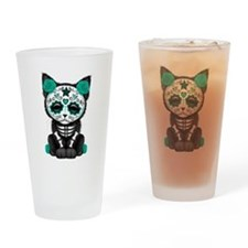 Cute Teal Day of the Dead Kitten Cat Drinking Glas