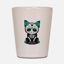 Cute Teal Day of the Dead Kitten Cat Shot Glass