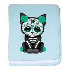 Cute Teal Day of the Dead Kitten Cat baby blanket