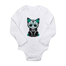 Cute Teal Day of the Dead Kitten Cat Body Suit