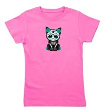 Cute Teal Day of the Dead Kitten Cat Girl's Tee