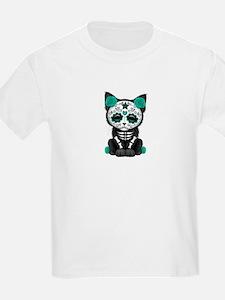 Cute Teal Day of the Dead Kitten Cat T-Shirt